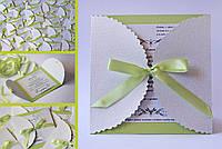 """Свадебные пригласительные с персонализацией """"Ажур"""" для яблочной свадьбы, свадьбы в яблочном нежно-зеленом тоне"""