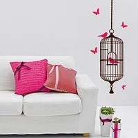 Клетка с птицами и бабочками, декоративная виниловая наклейка на стену (самоклейка оракал, птицы, бабочки)