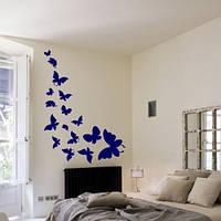 Виниловые наклейки Летящие бабочки набор (интерьерные декоративные бабочки для стен и стекла вихрь мотылек) матовая 565х1000 мм, фото 1