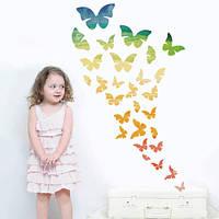 Радужные бабочки, набор виниловых интерьерных наклеек (самоклеющиеся, вихрь, мотыльки, радуга, декор детской)