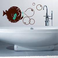 Вінілові наклейки Риба-їжак інтер'єрна наклейка для ванни (оракал самоклейка мильні бульбашки декор ванній)