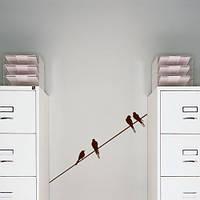 Птицы на проводе, интерьерная виниловая наклейка декор стены (самоклеющаяся пленка, ласточки, птички)