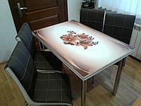 """Раскладной стол обеденный кухонный комплект стол и стулья 3D 3д """"Кофейная лилия"""" ДСП стекло 70*110 Mobilgen, фото 1"""