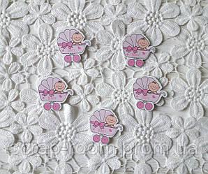 Деревянный кабошон детский Коляска с малышом девочка розовая, розовая коляска, baby girl