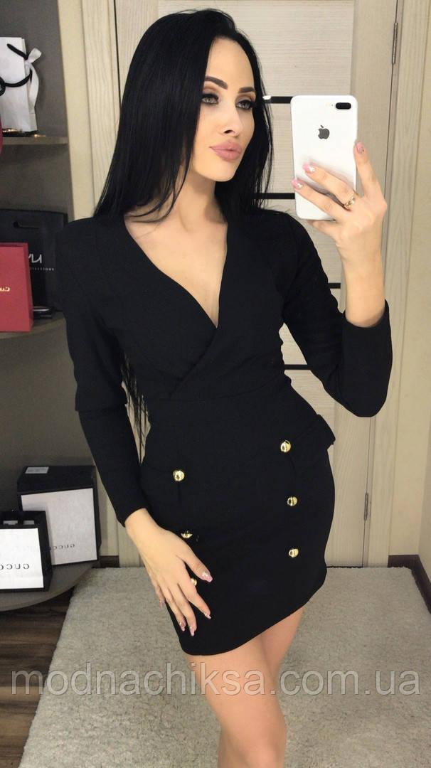 Платье мини V-вырез на юбке декорирован пуговицами S/M