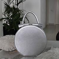 """Женская кожаная круглая сумка """"Emily"""" макси серебро, фото 1"""