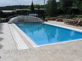 Переливний басейн,плівковий з павільйоном