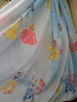 Тюль детская Принцессы голубые
