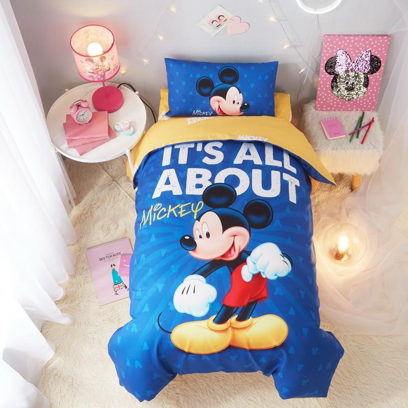 """Детское постельное белье """"mickey mouse"""" синее с завязками"""