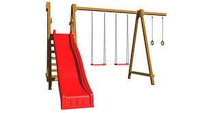 Уличная детская площадка с горкойкольцами и качелямидля дачи для дома экологическая деревянная SportBaby-3