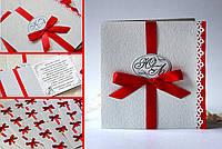 """Свадебные пригласительные с инициалами и печатью имен гостей """"Королевское"""" для свадьбы в ярко-красном цвете"""