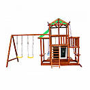 Уличная цветная детская площадка песочница с горкой качелями канатом горкой для скалолазания для дачи для дома, фото 7