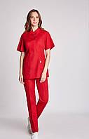 Медицинский женский костюм с драпировкой  воротник стойка много цветов 42р-56р коттон  Милана, фото 1