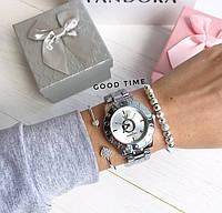 Женские часы Pandora (серебро + белый циферблат), Реплика