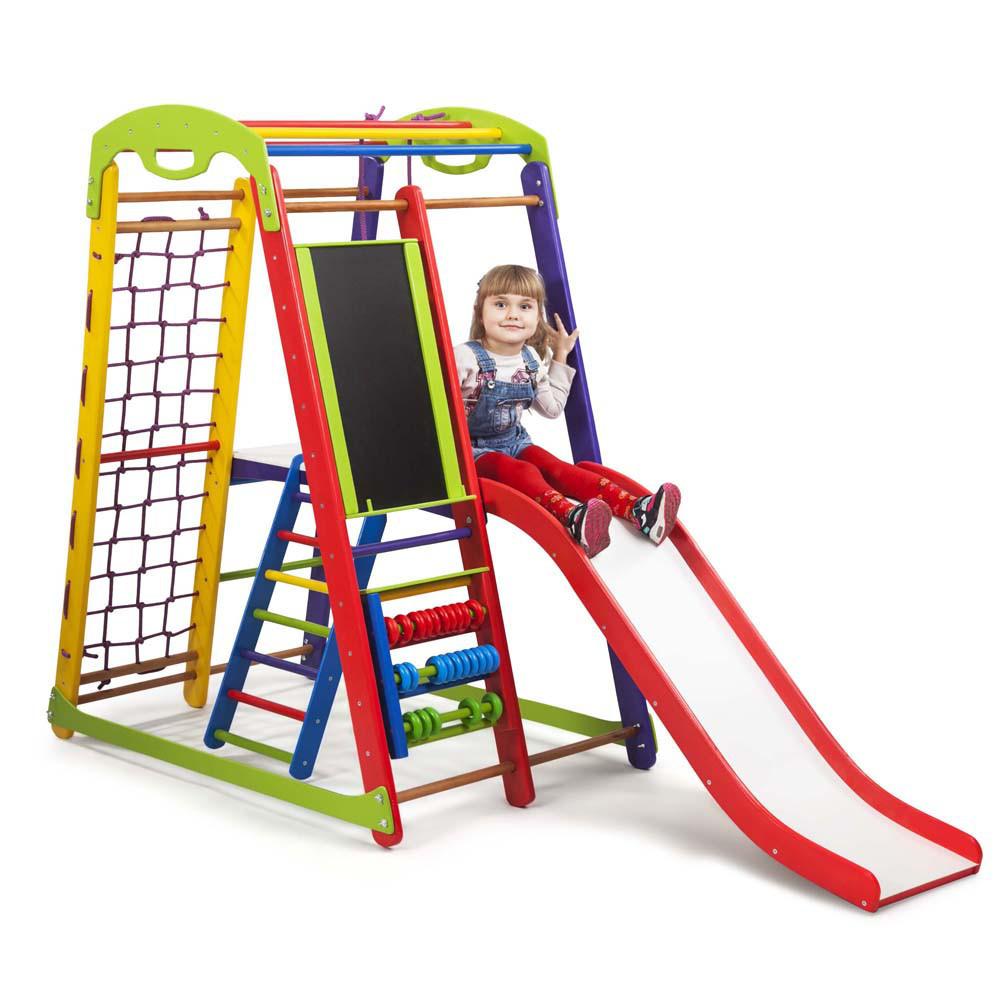 Акция! Деревянный Детский спортивный уголок с горкой  Кроха - 1 Plus 3 SportBaby