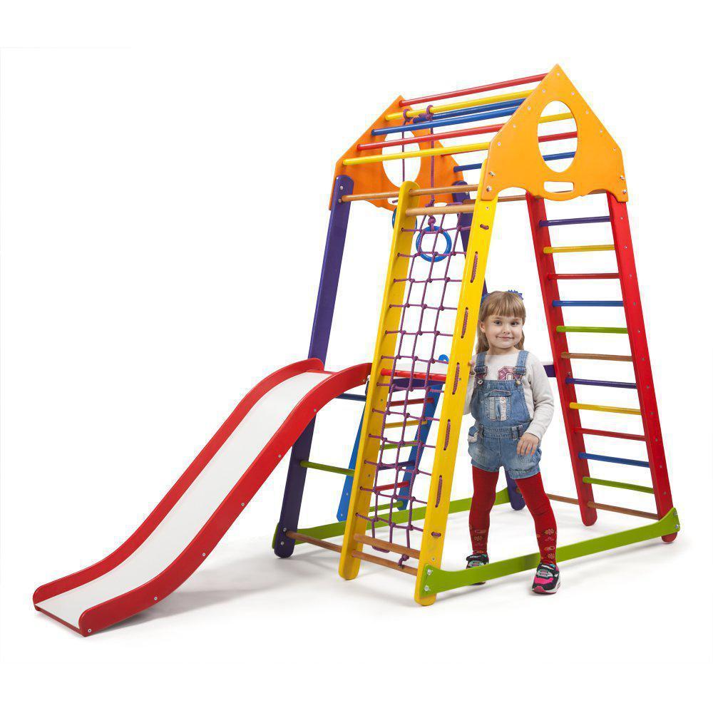 Акция! Деревянный Детский спортивный комплекс для квартиры с горкой Спорбейби BambinoWood Color Plus 2