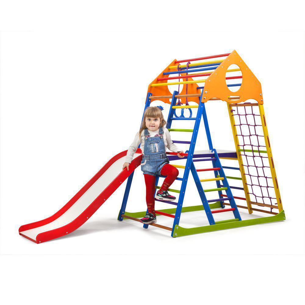 Акция! Деревянный Детский спортивный комплекс с горкой Спортбейби KindWood Color Plus 2 SportBaby