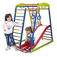 Акция! Деревянный Детский спортивный комплекс для дома с горкой Спортбейби SportWood Plus 1 SportBaby