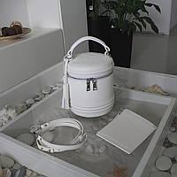 """Женская кожаная сумка бочонок """"Alexa"""" белая, фото 1"""