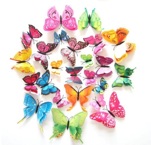 Бабочки на магните разноцветные - в наборе 12шт., пластик, так же есть 2-х сторонний скотч