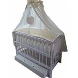 """Акция! Комплект """"Малыш с комодом карапуз"""" белый: Комод+ кроватка маятник+ матрас кокос + постельный набор, фото 4"""