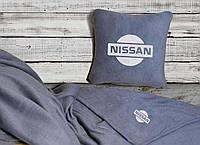 Автомобильный плед Nissan в чехле с вышивкой логотипа, фото 1