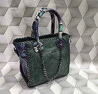 Сумка женская мини копия Stella MCcartney Стелла МКкартни ткань набук Турция цвет зеленый, фото 1