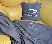 Автомобильный плед Chevrolet в чехле с вышивкой логотипа, фото 1