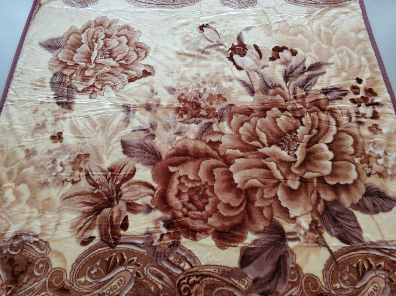 Плед акриловый двуспальный TRUE LOVE цветок пион лилия