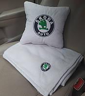 Автомобильный плед Skoda в чехле с вышивкой логотипа, фото 1