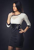 Модное платье из трикотажа с вставками, фото 1
