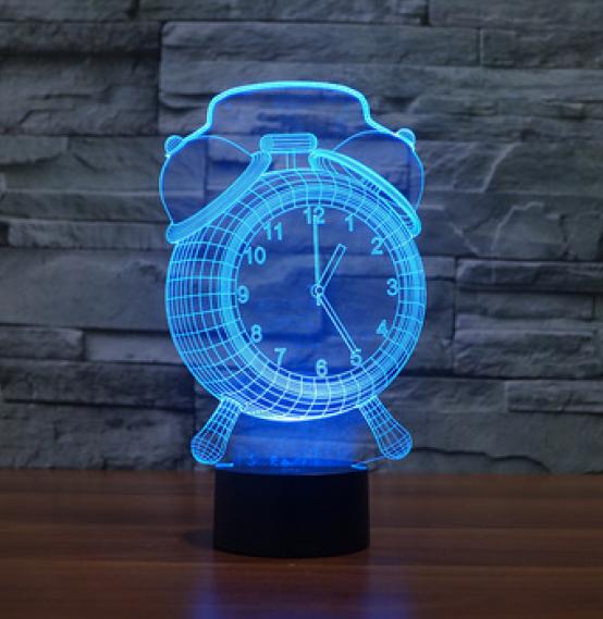 Настольный светильник с 3D эффектом 1104 (Часы) | 3D ночник