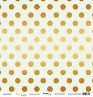Лист односторонней бумаги с золотым тиснением 30x30 Golden Dots Mint от Scrapmir Every Day Gold