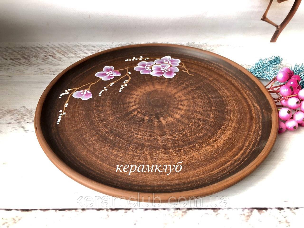 Керамическое блюдо 37 см с рисунком