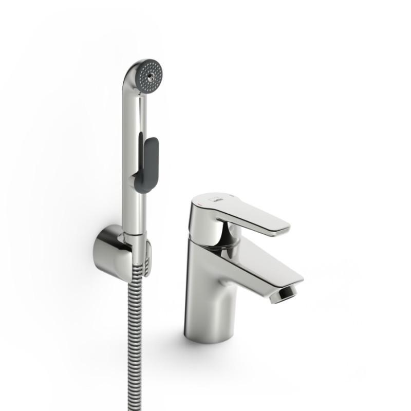 Однорычажный латунный смеситель для умывальника цвет хром Oras Saga 3912F с ручным душем