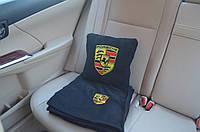 Автомобильный плед Porsche в чехле с вышивкой логотипа, фото 1