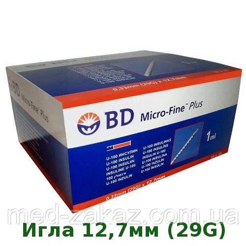 Шприц инсулиновый BD Micro Fine Plus 1,0мл 29G 0,33 x 12,7 мм U-100 (100 шт.) REF 320931