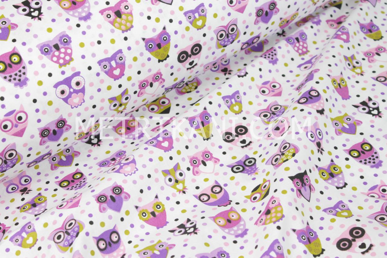 """Хлопковая ткань """"Разноцветные совы в горохах"""" на белом фоне №1355"""