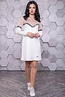 Женское повседневное платье, размеры от 42 до 48, белое, молодёжное, спортивное, весеннее,осеннее