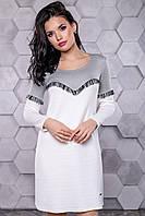 Женское повседневное платье, размеры от 42 до 48, белый/серый, молодёжное, спортивное, весеннее,осеннее