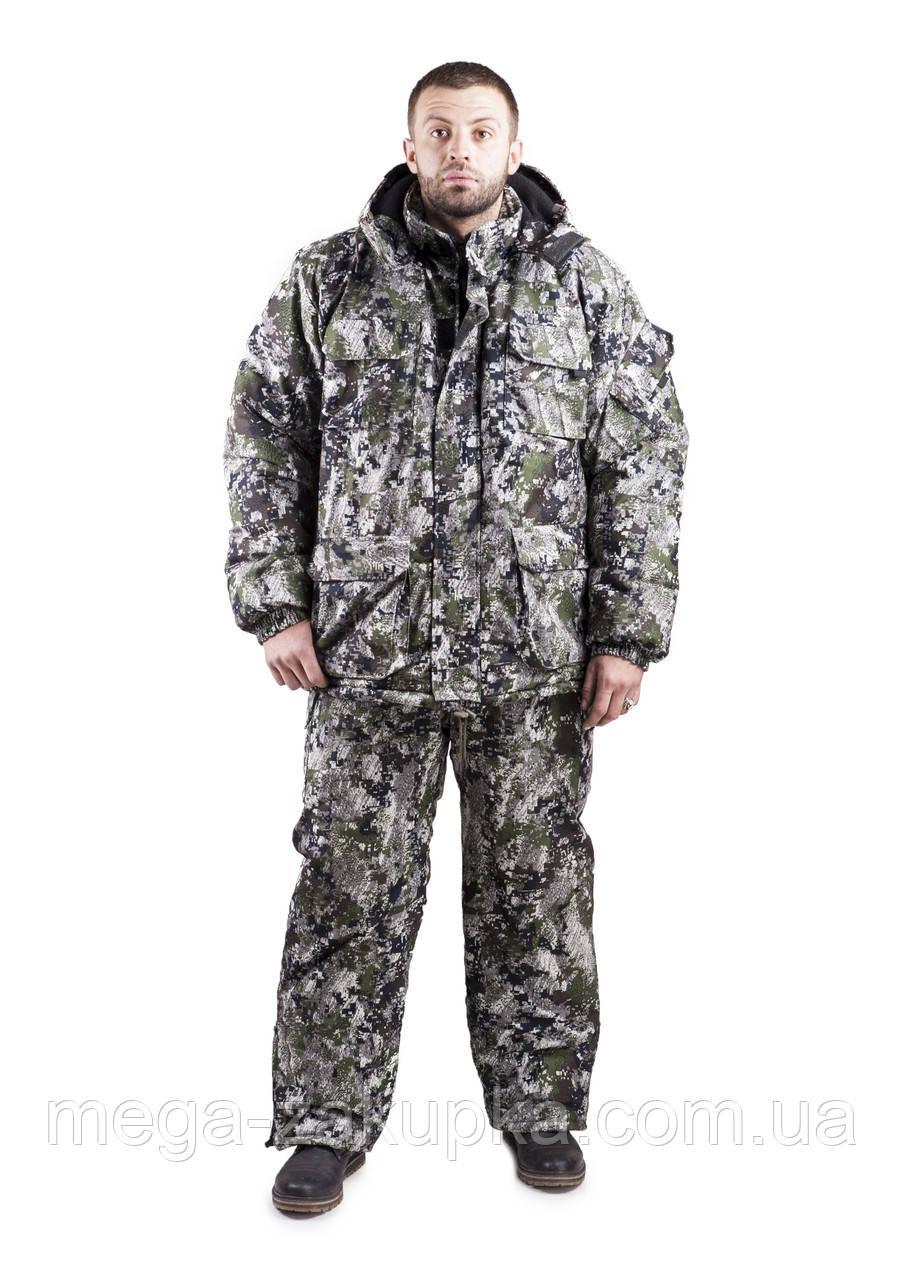 Зимовий костюм для полювання та риболовлі Піксель, непродуваємий, теплий і надійний, всі розміри 48-50