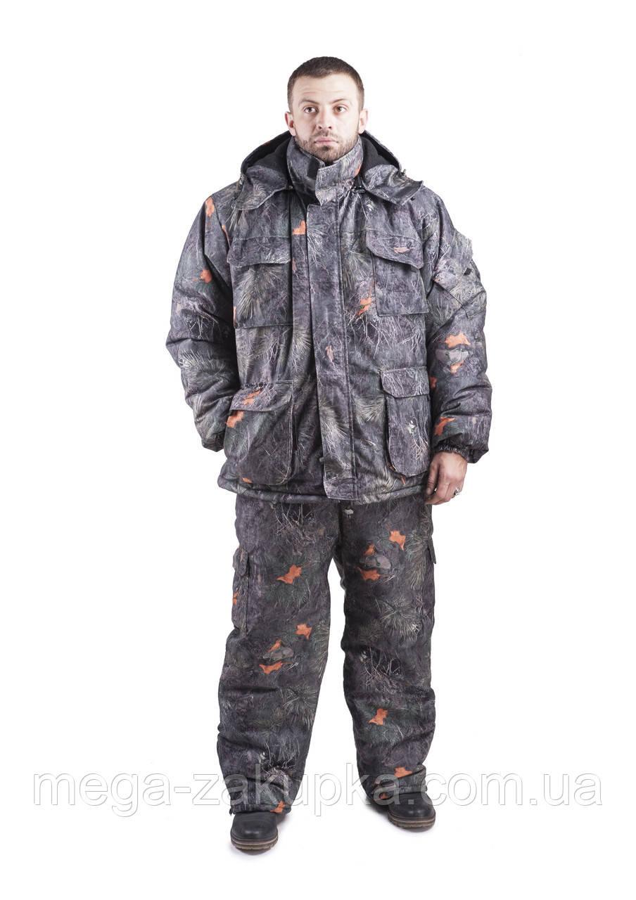 Зимний костюм для охоты и рыбалки Шишка зелёная, непродуваемый, тёплый и надежный, все размеры 64-66