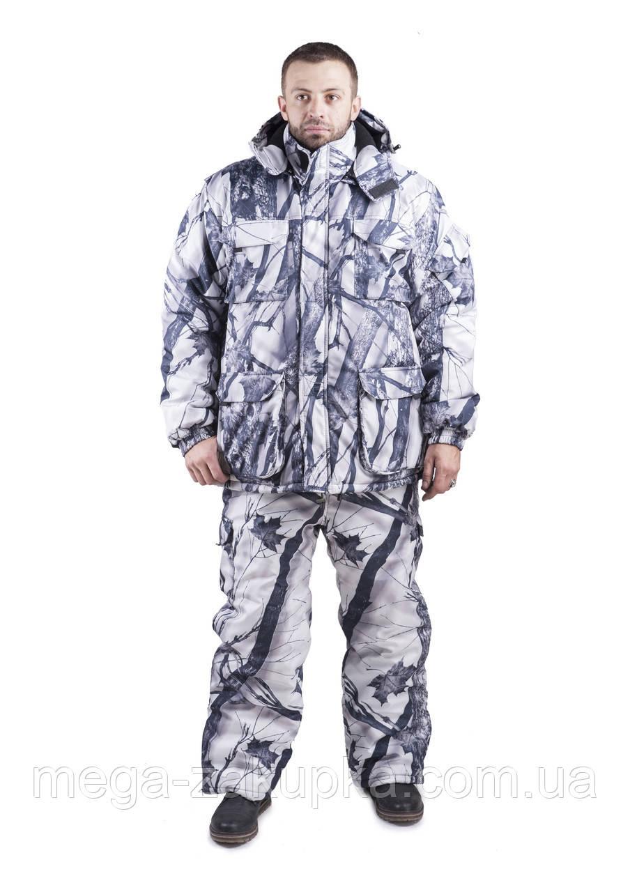 Зимний костюм для охоты и рыбалки Белый камуфляж, непродуваемый, тёплый и надежный, все размеры 64-66
