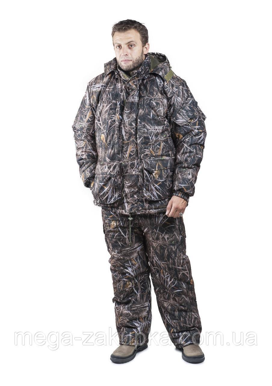 Зимовий костюм для полювання та риболовлі Темний Очерет, непродуваємий, теплий і надійний, всі розміри 48-50