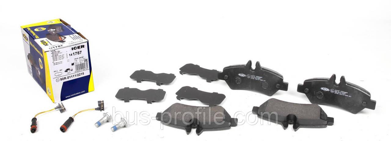 Колодки тормозные (задние) MB Sprinter 209-319 CDI/VW Crafter 30-35 06- (Bosch)/(с датчиками) — ICER(Испания)