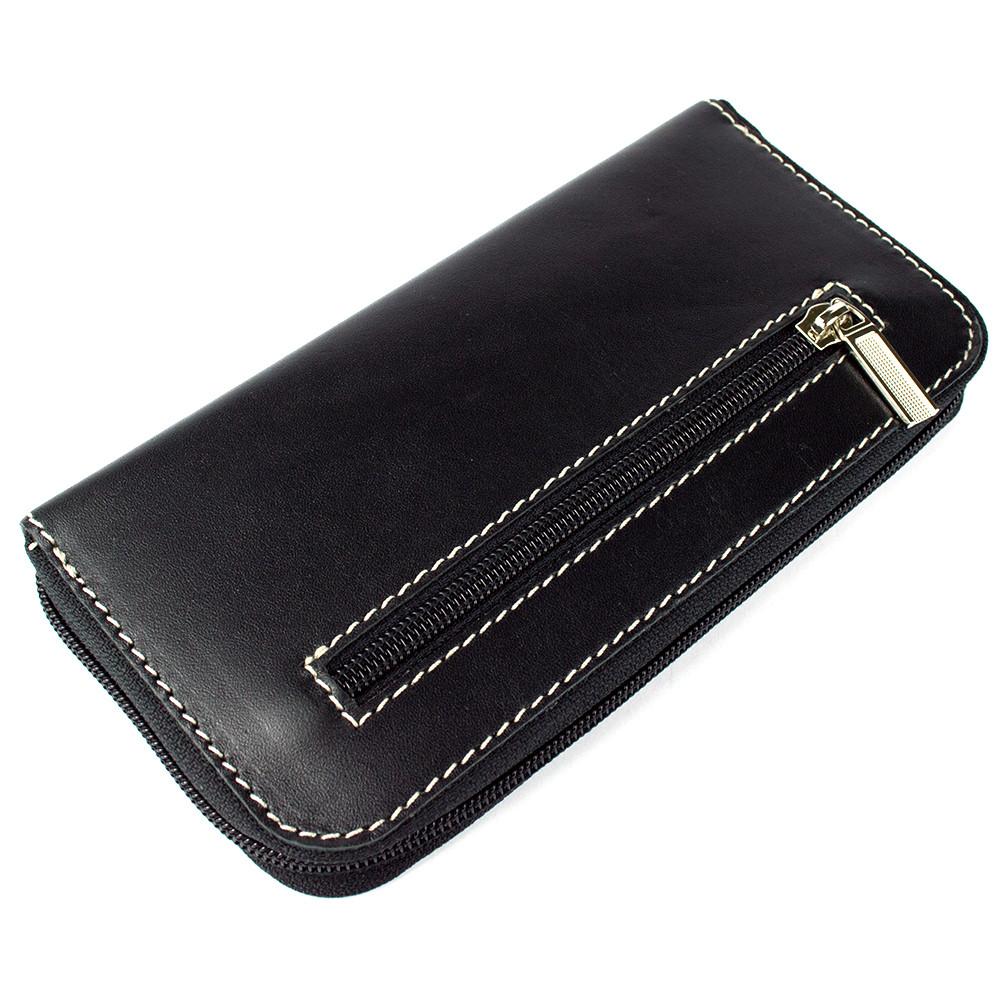 Женский кожаный кошелек на молнии LIKA (черный)