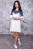 Женское повседневное платье, размеры от 42 до 48, белый/синий, молодёжное, спортивное, весеннее,осеннее