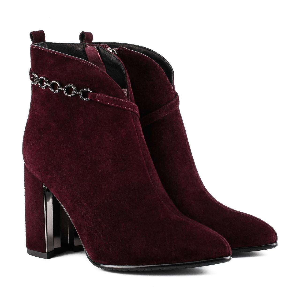 Ботильоны женские Brocoli (замшевые, на удобном каблуке, модные, элегантные)