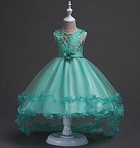 Платье мятное бальное выпускное нарядное для девочки