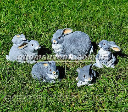 Садовая фигура Зайчиха с зайчонком, Зайчонок, Зайчонок Кузя, Зайчонок Тимоха и Крольчиха, фото 2